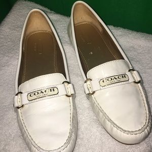 Coach Faye White Patent Loafers Flats Shoes Size 9